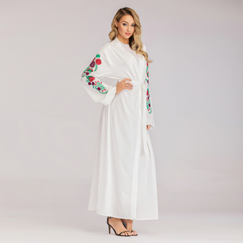 1713# kimono cardigan for wedding kaftan abaya wholesale islamic women dresses white embroidery flower abaya