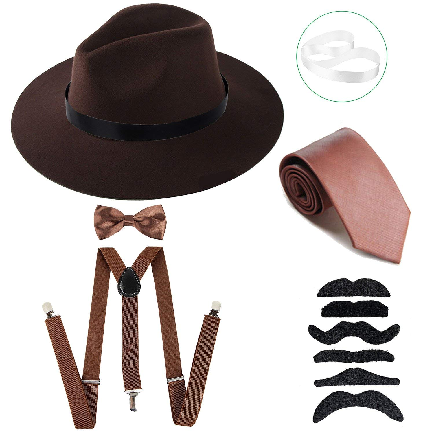 Buy ZeroShop Mens Roaring 1920s Set Manhattan Fedora Hat 94b30daf5a9c