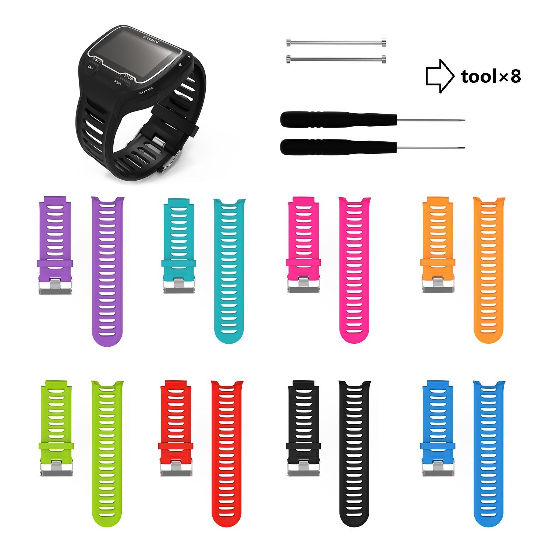 ECSEM Soft Adjustable Silicone Replacement Wrist Watch Band For Garmin Forerunner 910xt FR910XT GPS Running Sports watch backup Watchband Watch Band (8PCS)