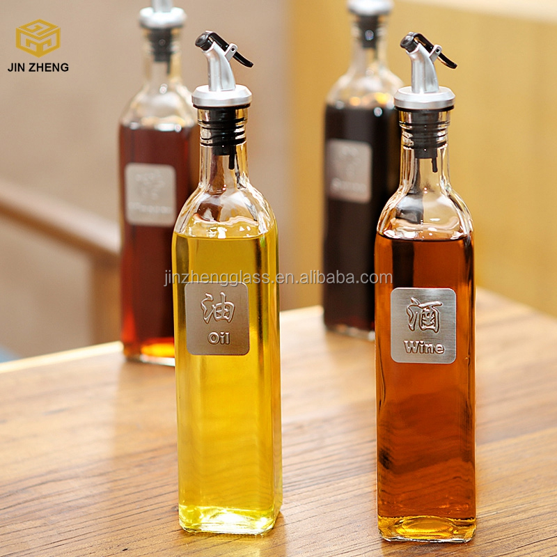 Italian Herbs Glass Olive Cooking Oil Vinegar Bottle with Pourer Drizzle Lid