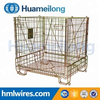 Collapsible foldable reinforced wire mesh container for forklifts