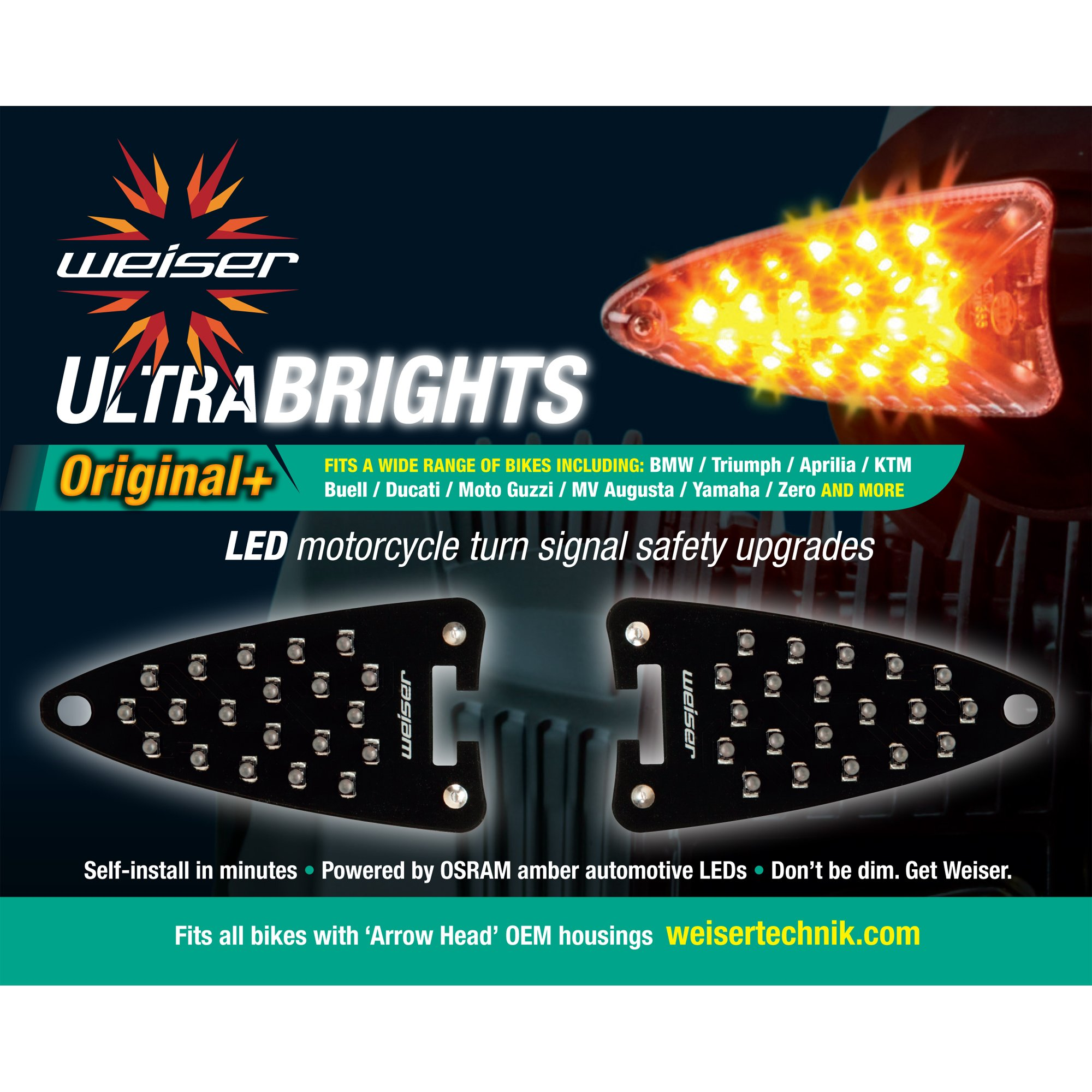 Ultrabrights Original+ LED Turn Signal Upgrades for Aprilia, Triumph, KTM, Buell, Ducati, MV Augusta, Moto Guzzi, Triumph, Yamaha and Zero Motorcycles