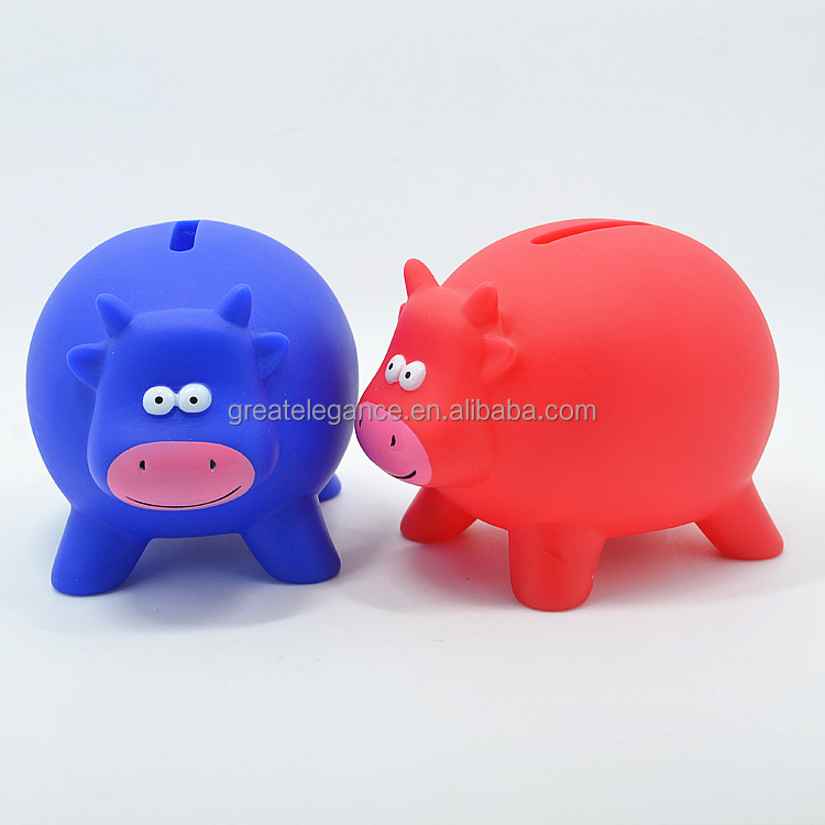 Wholesale Custom PVC Plastic Money Saving Box Cow Piggy Bank