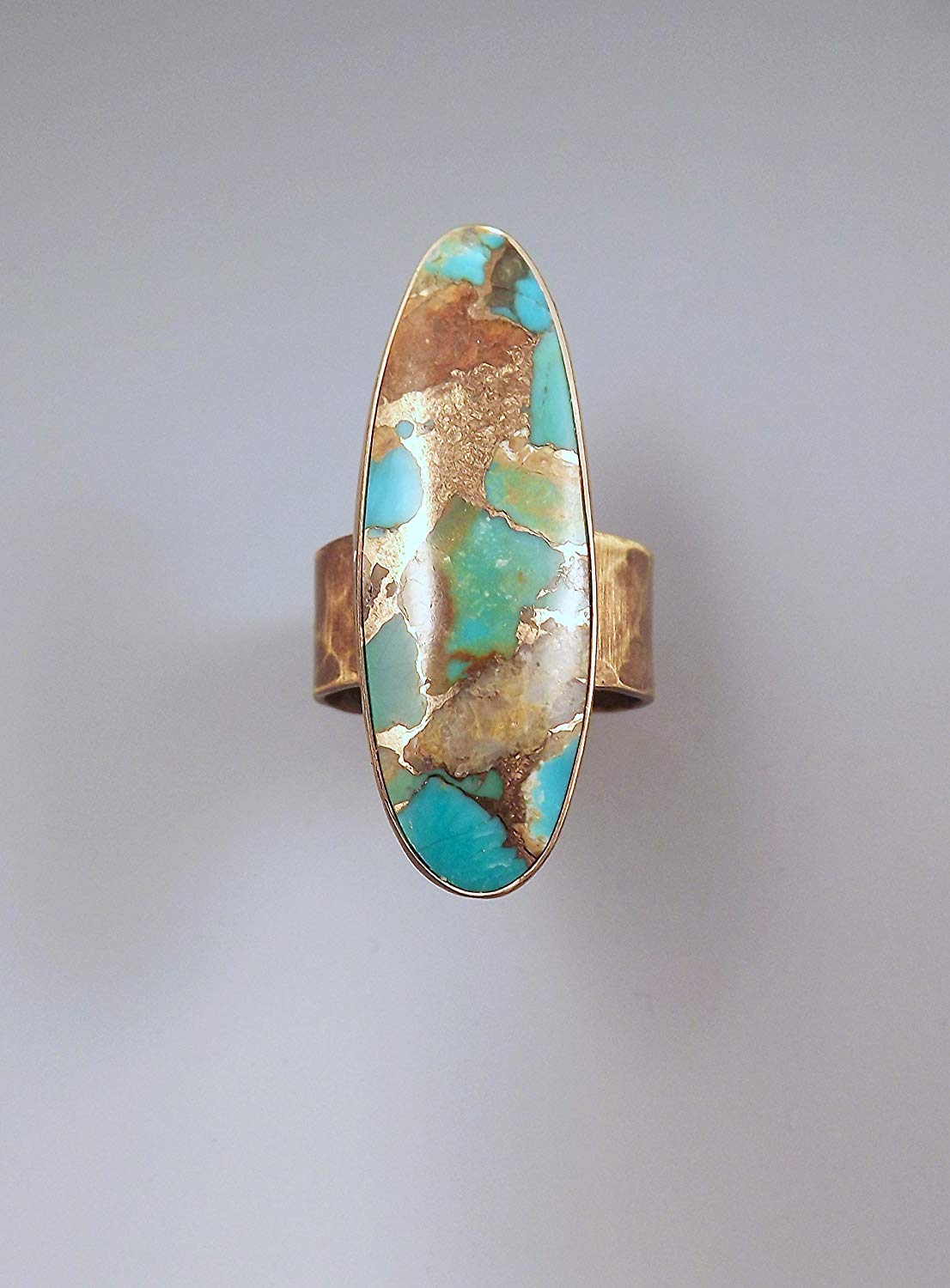 Turquoise Patina Ring- Boho Chic- Merlin's Gold- Blue and Green- Turquoise Ring