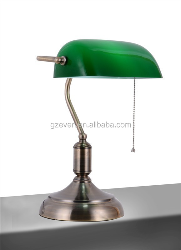 LED Desk Table Lamp Emerald Green Glass Power Bank Office Student Lampe Red Wood Vintage E27 Industrial Retro Reading Luminaria
