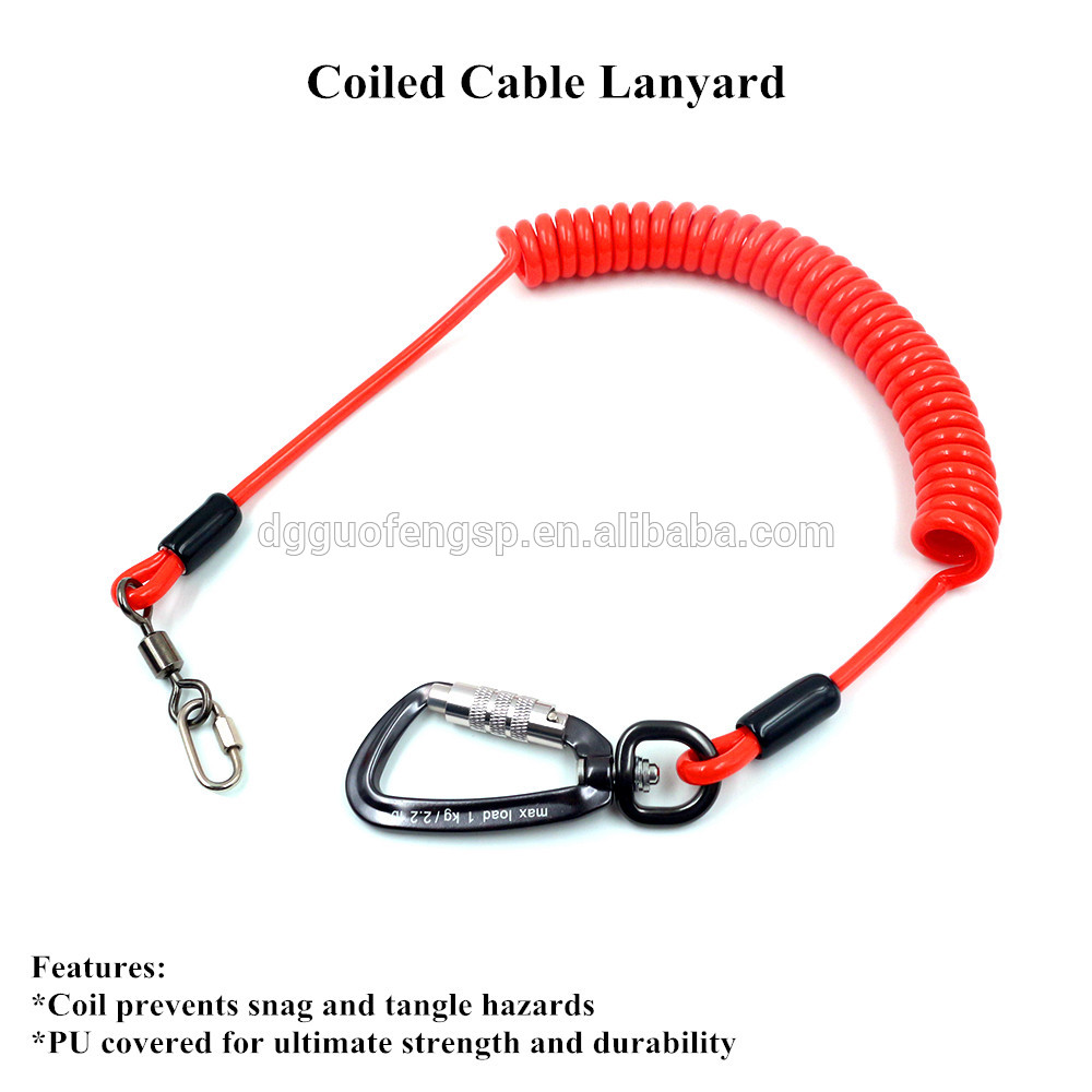Safety Coiled Cable Lanyard Tool Lanyard With Stainless Steel ...