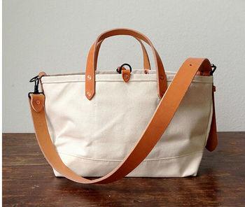 High Quality Canvas Tote Bag Leather Handle Messenger Bag - Buy ...