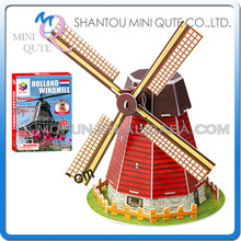 Mini Qute cartoon Windmill building block world architecture 3d paper diy model cardboard puzzle educational toy NO.B668-4