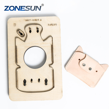ZONESUN Customized pig shape Leather DIY Wooden Template Knife Punching tool coin purse Cutting Mold die animal Japanese steel