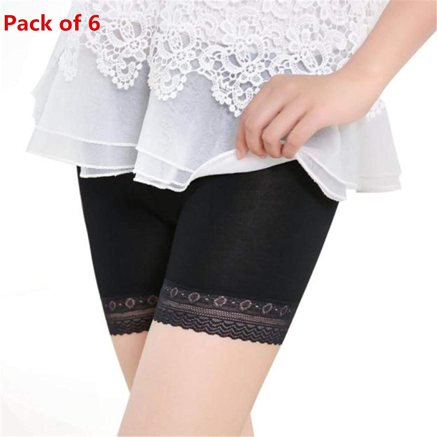 eb37ae399b9 Get Quotations · Goodtrade8® 6-Pack Women s Trimmed Lace Boy Short Panties  Regular   Plus Size Lace