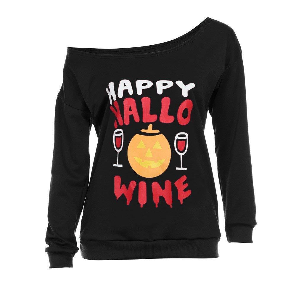 POTO Halloween Sweatshirt,Women Halloween Print Long Sleeve Off Shoulder Shirt Pullover Tops Blouse T-Shirts