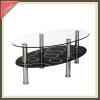 Fancy modern led tempered glass round touch screen dining coffee table