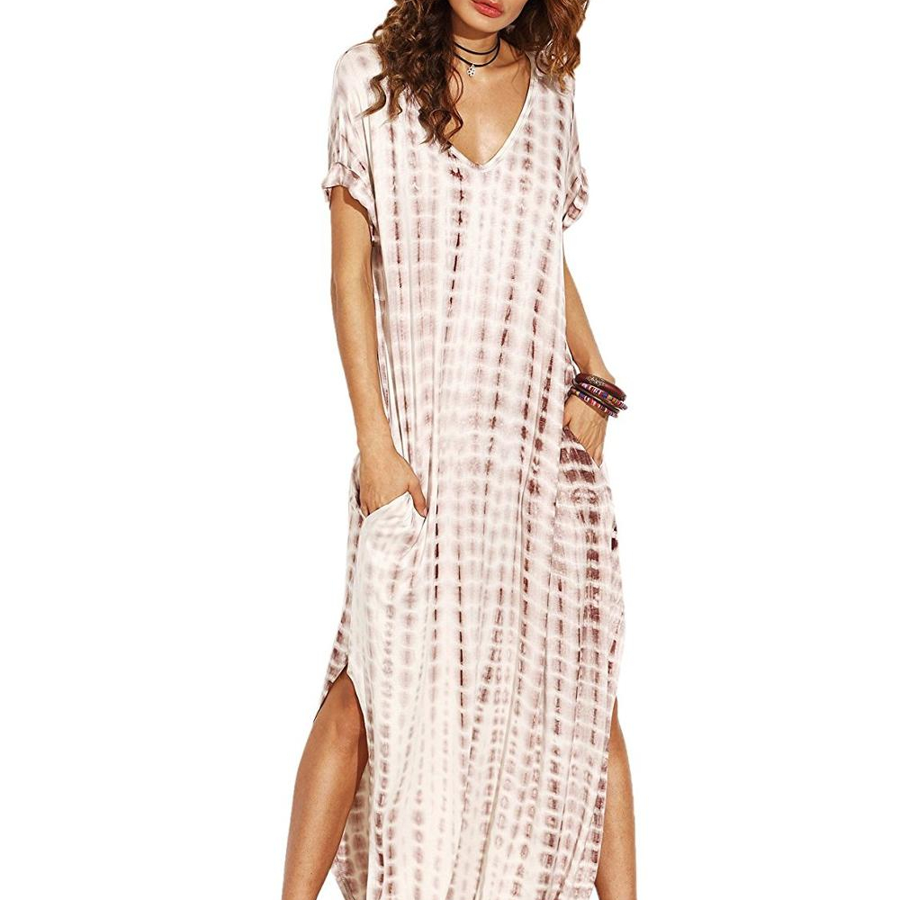 Women Casual Maxi Short Sleeve Split Tie Dye Long Dress