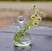 2017 New Cute Glass Angel Shape Flower Plant Stand Hanging Vase Hydroponic Container Office Wedding Decor