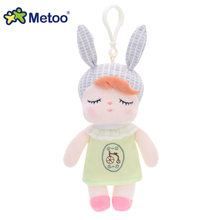 Metoo Кукла Мягкие игрушки Плюшевые животные мягкие детские игрушки для детей для девочек и мальчиков Kawaii Мини Анжела кролик кулон брелок(Китай)