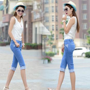 f7b304e6633 Новый дизайн фантазии корейский стиль штаны для девочек летние элегантные  узкие кружево дамы джинсы женщин