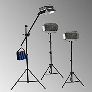 ePhoto Dimmable 3 x 500 LED Light Panels Video Photography 500 LED Hair Light Boom Stand Kit by ePhotoInc ULS500ABoomx3