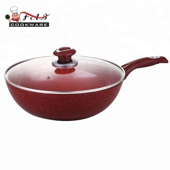 Forged aluminium red cooking pot high quality wok