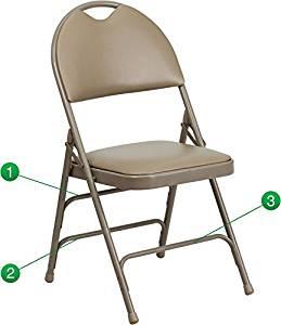 Flash Furniture Hercules Series Extra Large Ultra-Premium Triple Braced Beige Vinyl Metal Folding Chair with Easy-Carry Handle