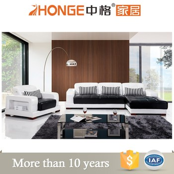 Lounge Furniture Genuine Leather Corner Set Modern Black L Shaped ...