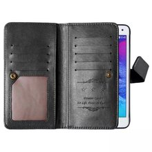 For Samsung Galaxy Note 4 Magnetic Flip PU Leather case, Wallet Case with nine Card Slots Stand fundas Mobile Phone Cover cases