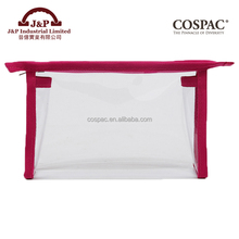 Wholesale Cheap Price 0.3mm Clear PVC Plastic Cosmetic Bag with Pink Color Binding Christmas Gift Bag