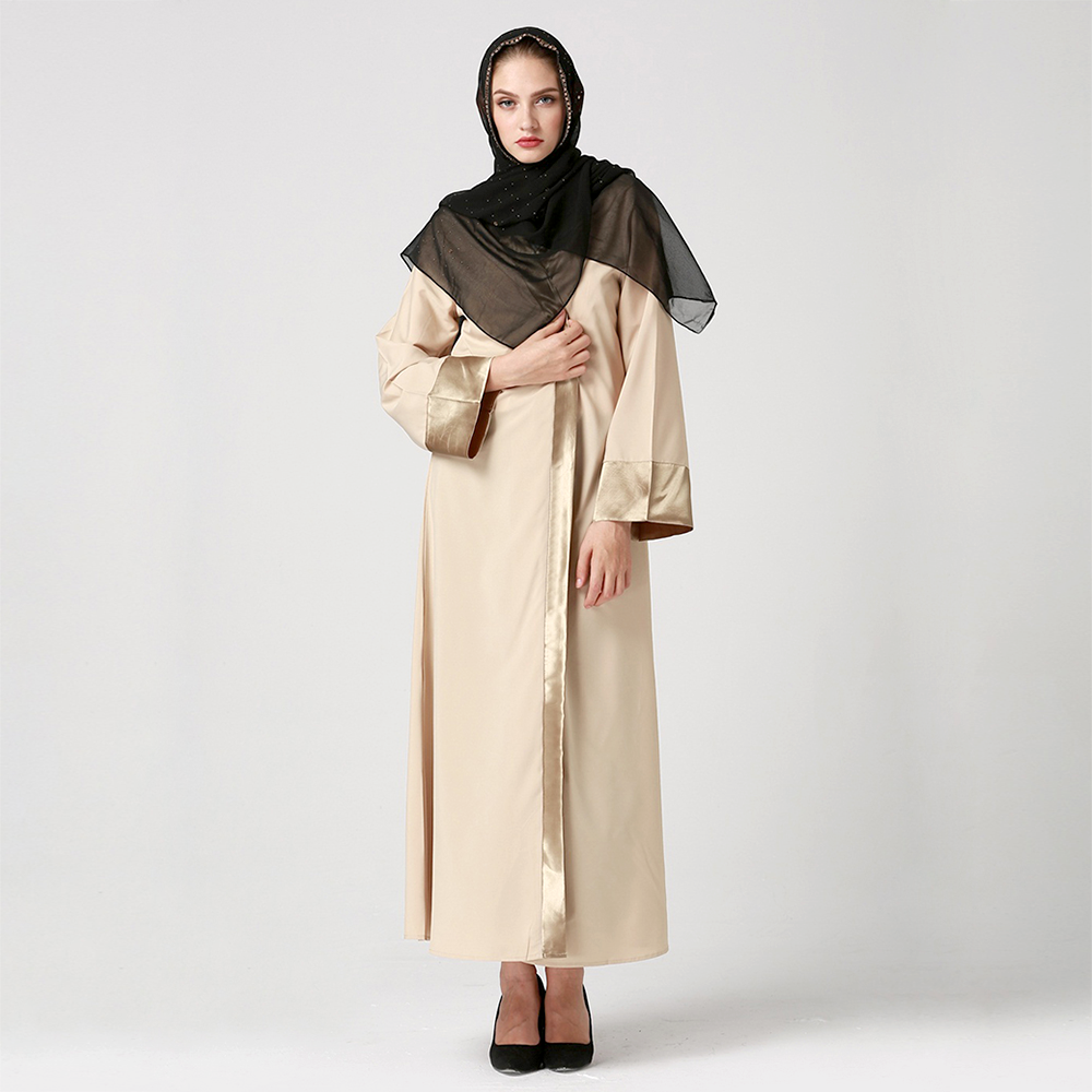 Zakiyyah 7008 Nice Style Names of Islamic Clothing Wing Print Dubai Cardigan Abaya Wholesale Gold Trim Muslim Abaya Belt Stores