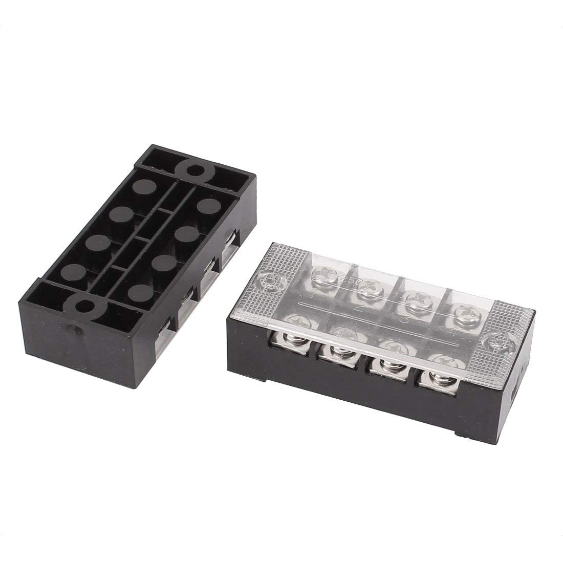 Aexit 2 Pcs 600V 25A 4P Dual Row Barrier Terminal Block Cable Connector Bar