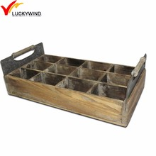 antique wood milk crates with divider