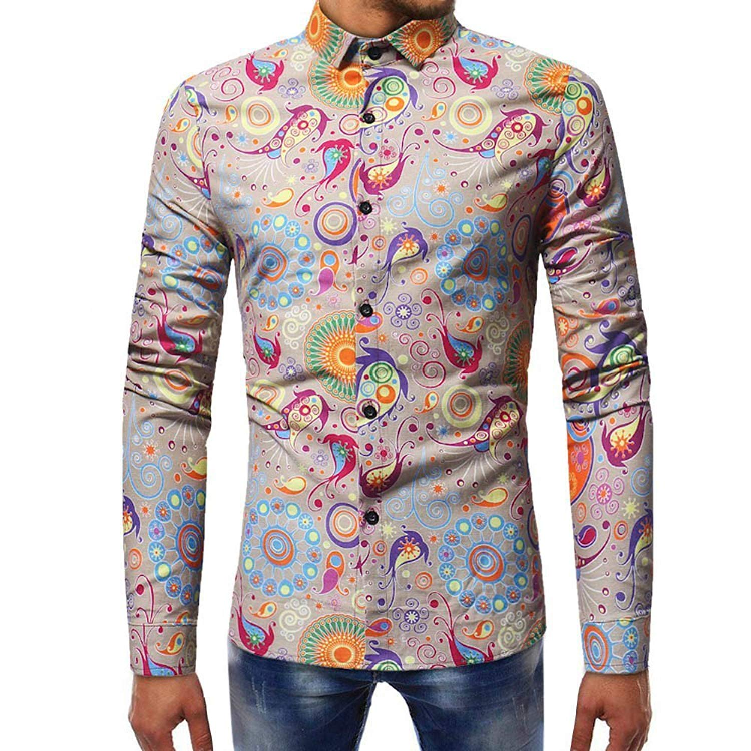 616669541dece Get Quotations · WEUIE Mens Shirts Clearance Mens Fashion Printed Blouse  Casual Long Sleeve Slim Shirts Tops (
