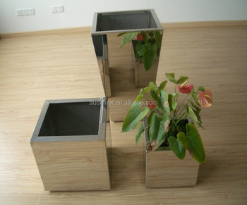 Stainless Steel 304 Polished 1 2mm Thick Self Watering Flower Pot
