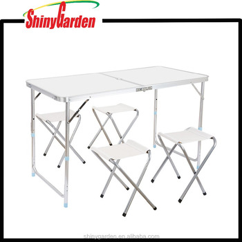 Height Adjustable Aluminum Camping Folding Table And 4 Folding Stools With Parasol Hole Buy Aluminum Folding Table And Chair Lightweight Folding
