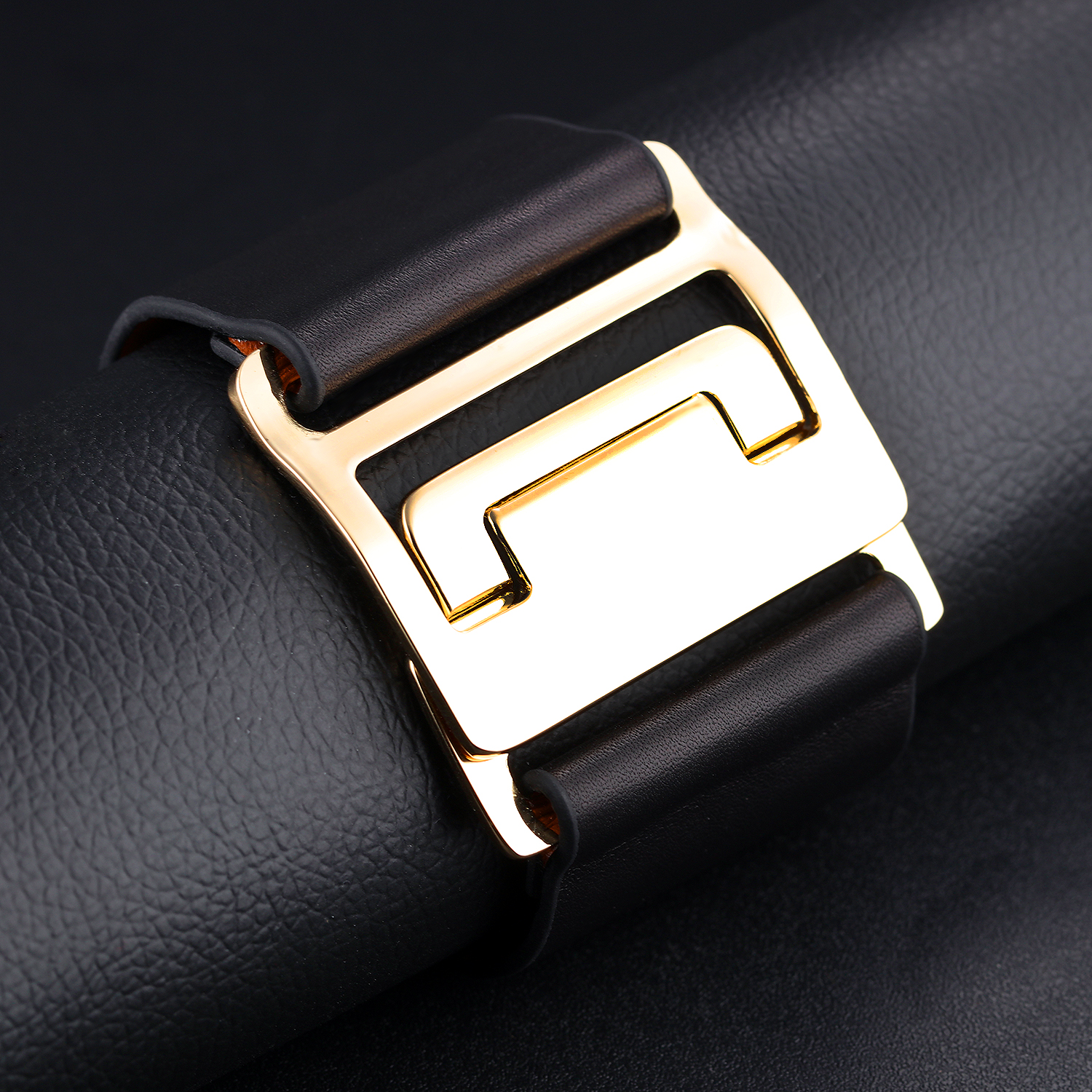 Fashion Newest Gold Alloy Buckle Genuine Plain Black Brown Leather Women Bangle Cuff Bracelets Wholesale