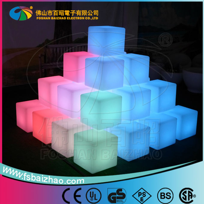Decorative outdoor plastic led cube seating