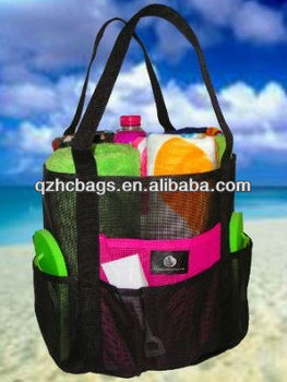 Mesh Family Beach Tote Black Bag W Pink Accent Pockets By Canvas Hc