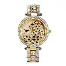 MISSFOX женские кварцевые часы модные шикарные повседневные женские часы женские кварцевые золотые часы с кристаллами и бриллиантами леопард...(Китай)