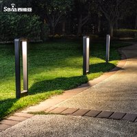 Savia LED 7W IP54 Waterproof Post Bollard Light Square Aluminum Modern Landscape Path Outside Backyard Lawn Garden Outdoor Lamp