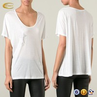 fashion women white Beaded high quality compressed tshirt