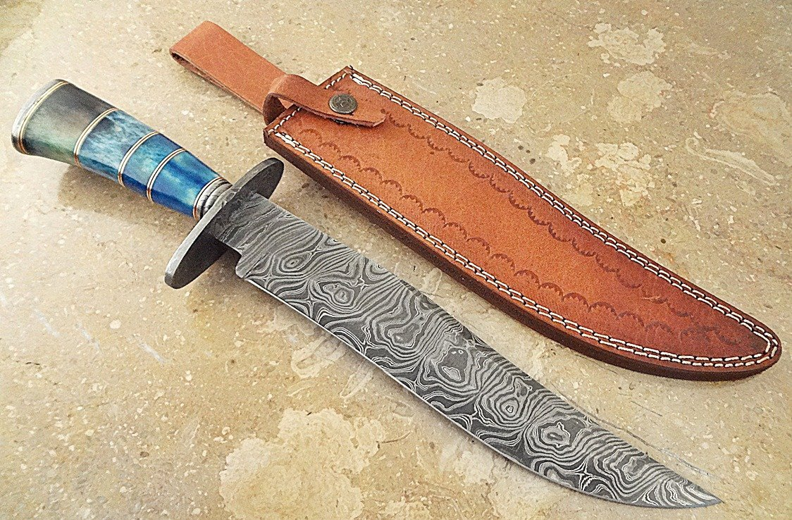 ColdLand Knives | One-of-a-Kind 15'' Custom Handmade Damascus Steel Bowie Hunting Knife HH10