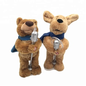 Customized Cute Singing Dog & Bear With Microphone Plush toys Battery-operated Singing Plush Toy