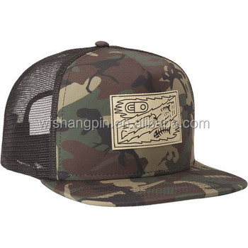 161e803b3bc High Quality Custom Woven Patch Flat Brim Camouflage Mesh Hat, Custom Camo  Snapback Trucker Hat