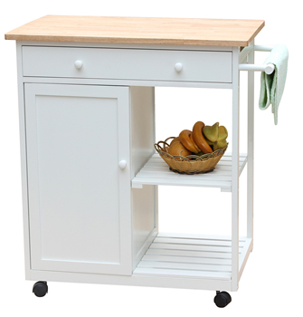 Modern Wooden Mobile Kitchen Island Cart On Wheels White Natural Butcher Block