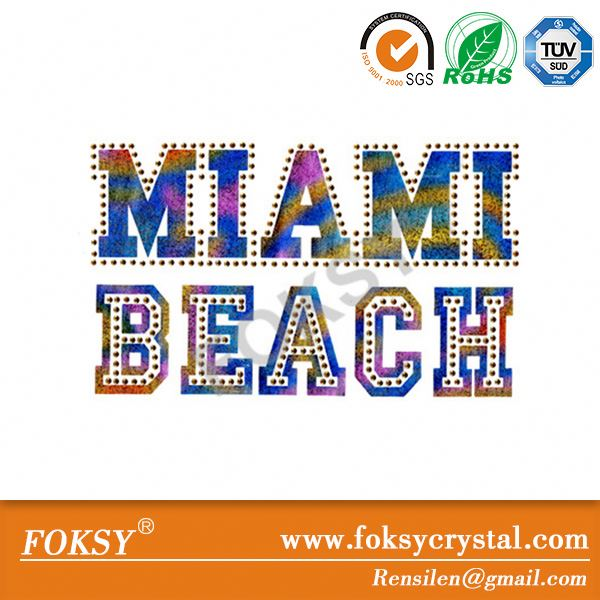 miami beach iron on fabric patch