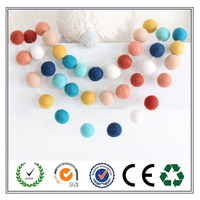 China factory manufature colorful handmade felt ball garland for christmas decoration