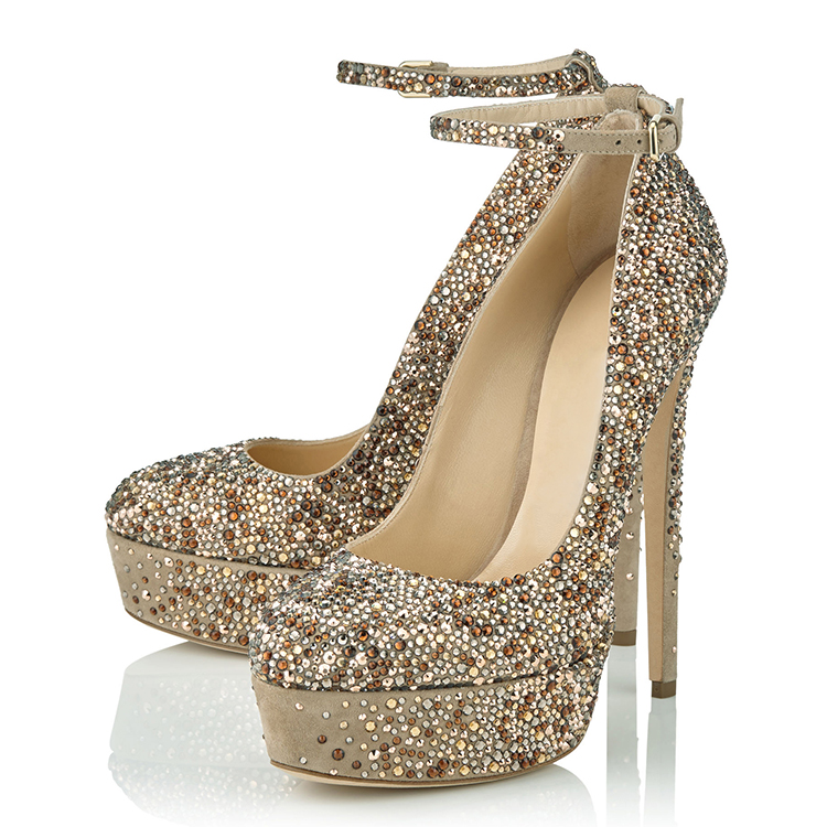 OEM ODM platform 17cm stilettos glitters ankle strap sexy shoes very high heels
