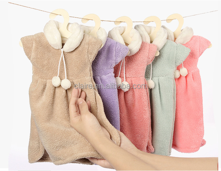 Lovely cleaning clothes hanging dress shape hand towel