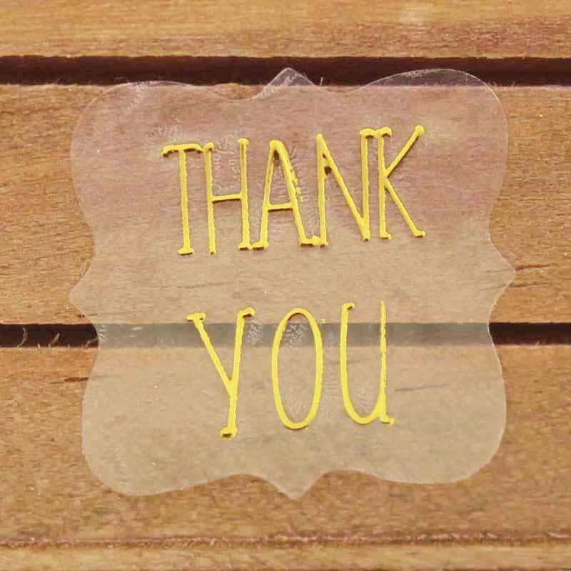 200 шт., сделанные с наклейками на любовь, наклейки ручной работы, золотые наклейки, ПВХ, прозрачные, спасибо, подарок/Ювелирные изделия/печень...(Китай)