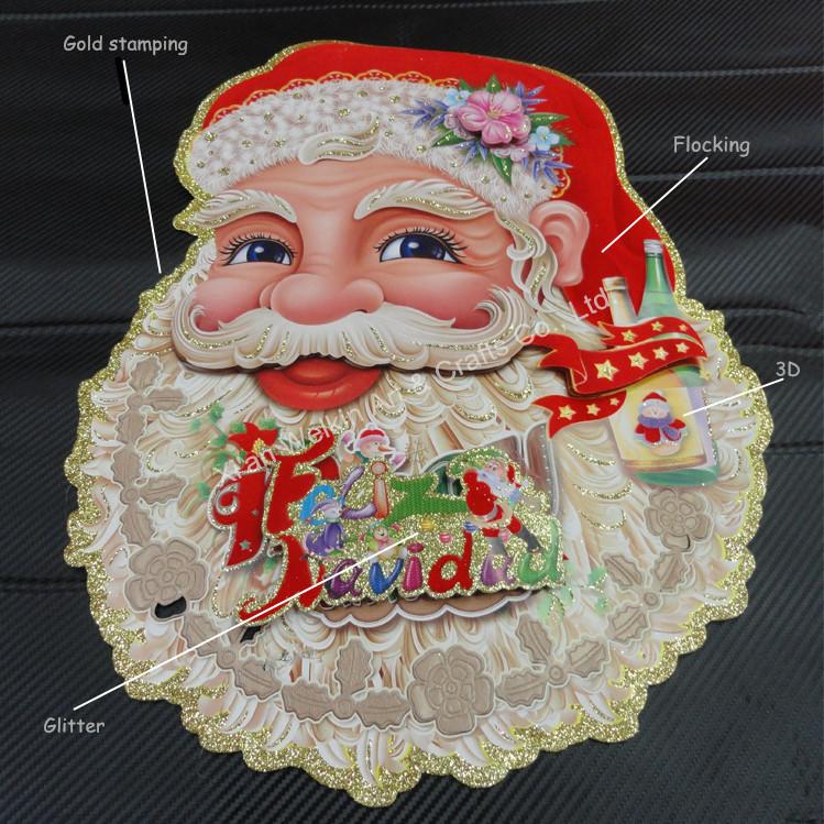 Paper Christmas Tree Wall Decoration : D paper santa claus glass window stickers glitter