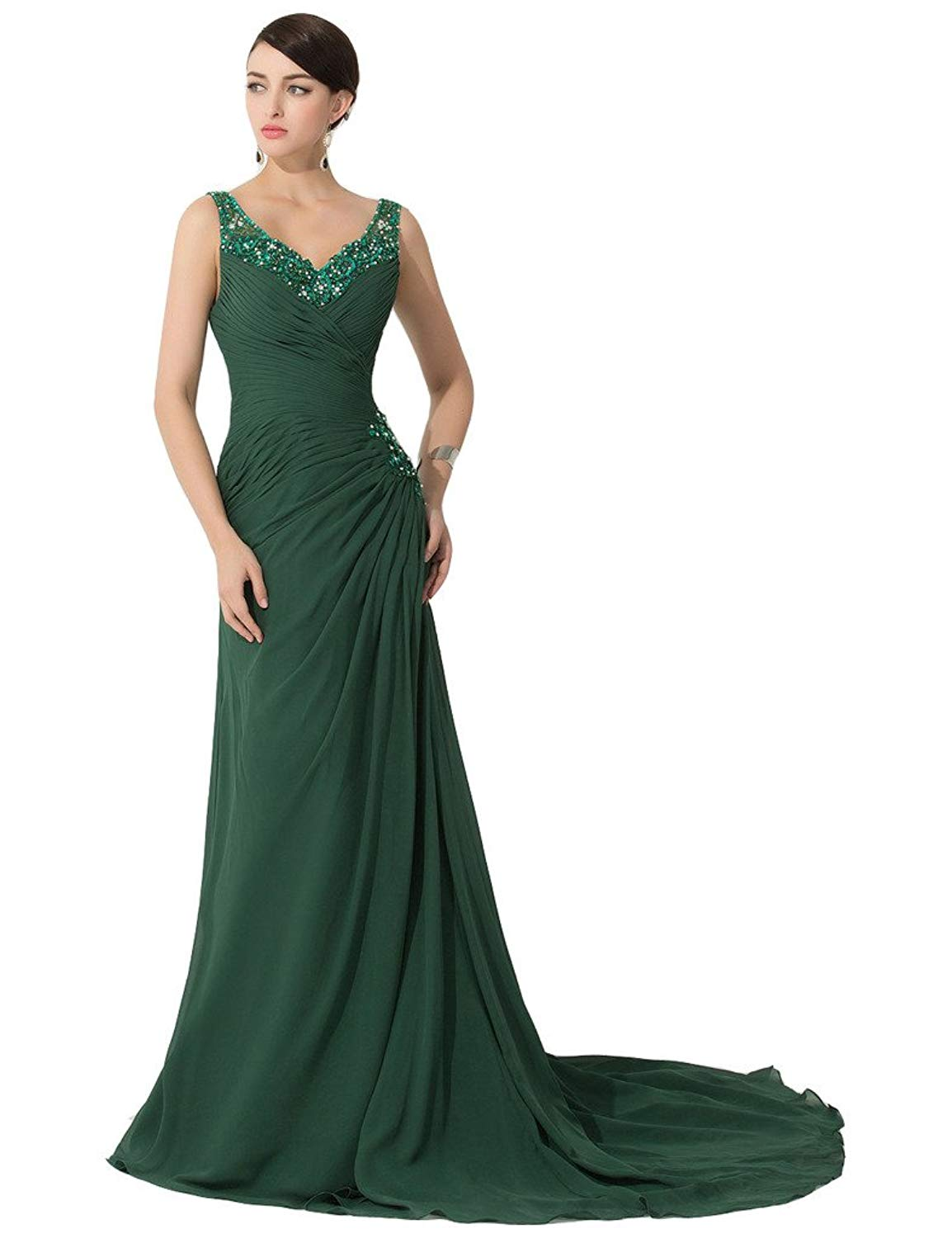 get quotations lemai womens emerald green v neck a line long beaded evening mother formal dresses