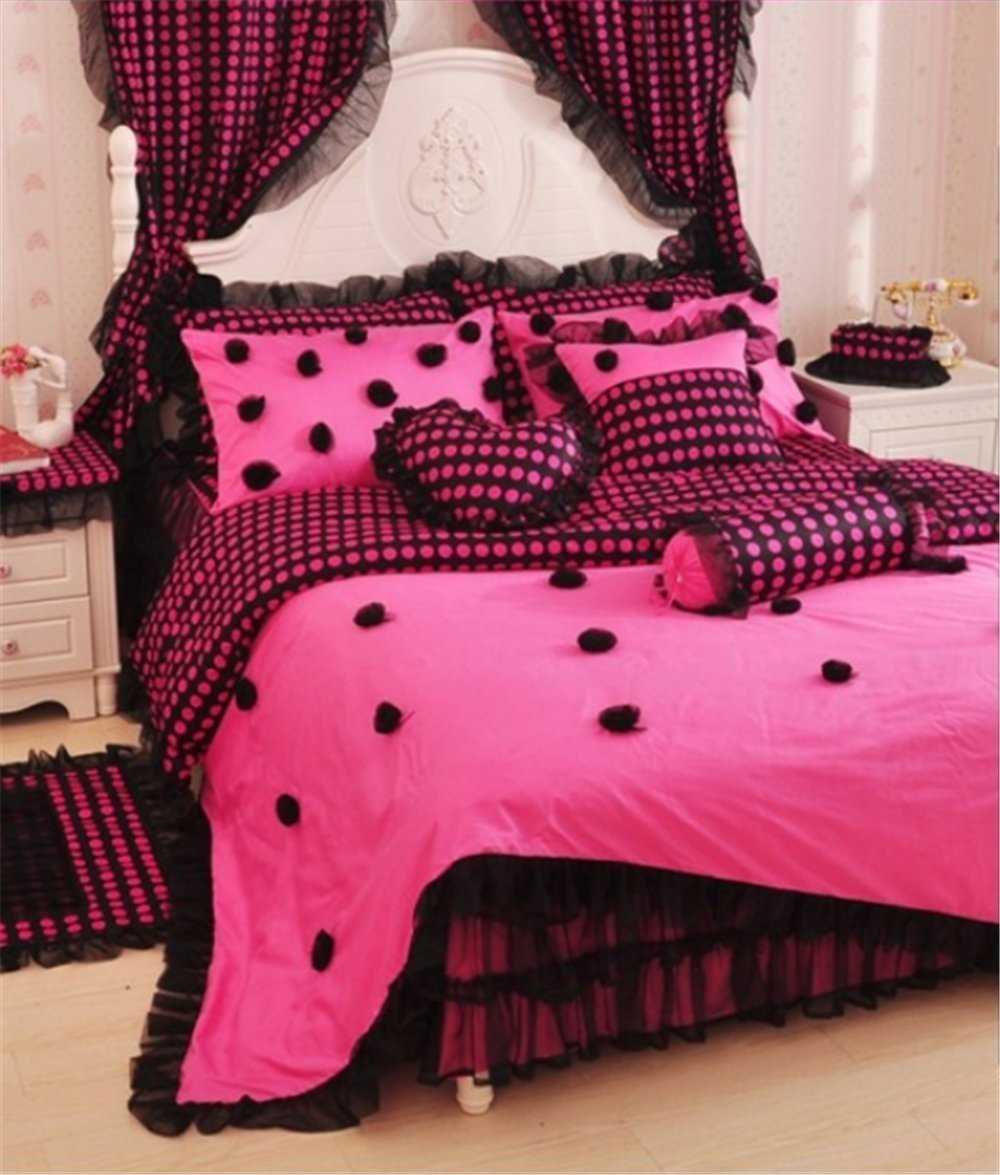 Buy Auvoau Home Textile Beautiful Korean Rose Bedding Sets Luxury Girls Pink Lace Ruffle Bedding Sets Romantic Princess Wedding Bedding Set Girls Fairy Bedding Sets Polka Dot Bedding Set Full 3 In Cheap Price On Alibaba Com
